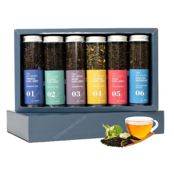 Bộ trà hoa được thiết kế nhãn mác độc đáo theo nhận diện thương hiệu riêng của từng công ty
